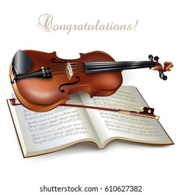 Musical background series. Classical violin, isolated on white background with musical notes and the 'Congratulations' wording. Vector illustration