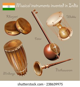 Musical background series. Set of musical instruments invented in India. Vector Illustration