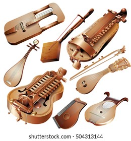 Musical background series. Set of string musical instruments, isolated on white background. Vector illustration