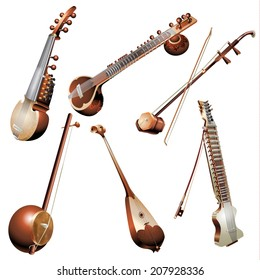 Musical background series. Set of traditional string instruments, isolated on white background . Vector illustration