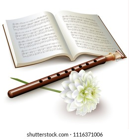 Musical background series. Traditional armenian duduk flute with a chrysanthemum and musical notes, isolated on white background. Vector illustration
