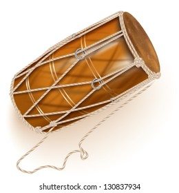 Musical background series. Traditional chau gong (tam-tam), isolated on white background. Vector illustration