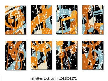 Musical Backgrounds for Posters. Set of 8 Editable Cover Designs with Notes, Bass and Treble Clefs. Vertical Rectangular Backgrounds with Music Symbols Covered with Clipping Mask. Vector Card Design