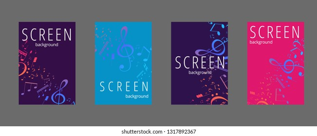 Musical banner set with colored key notes. Abstract music background. Vector paper illustration.