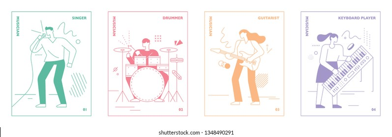 Musical card concept graphic illustration of outline drawing. flat design style minimal vector illustration