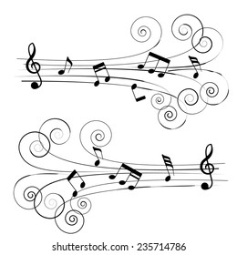 Musical chords in roll chord styles. A vector illustration.