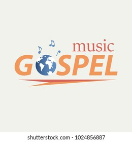 Musical Christian logo. The text and the globe with musical notes symbolize the music of the Gospel.