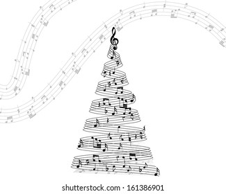 Musical Christmas Design Elements From Music Staff With Treble Clef And Notes in Black and White Colors. Elegant Creative Design With Shadows and Isolated on White. Vector Illustration.