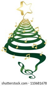 A musical Christmas tree with treble clef, notes and star.