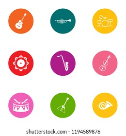 Musical collective icons set. Flat set of 9 musical collective vector icons for web isolated on white background