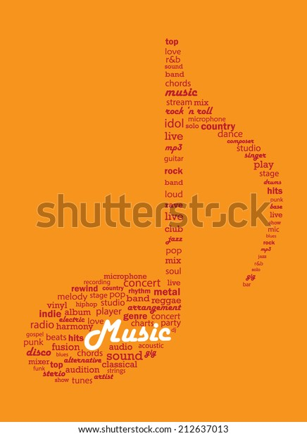 Musical Concepts Word Collage Shape Musical Stock Vector (Royalty
