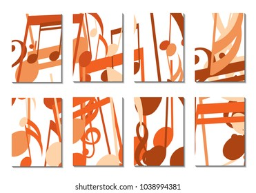 Musical Covers. Set of 8 Music Backgrounds with Notes, Bass and Treble Clefs. Cover Templates with Musical Signs for Cards,Posters, Brochures, Disks. Editable Backgrounds with Clipping Mask. Vector.