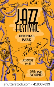 Musical creative poster with singer, saxophone, trumpet and contrabass players. Jazz festival design concept invitation.