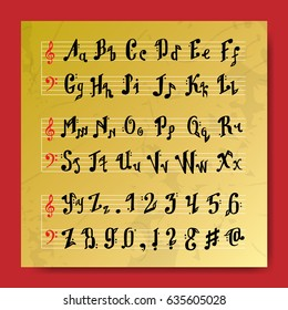 Musical decorative education music notes alphabet font hand mark calligraphy poster vector illustration