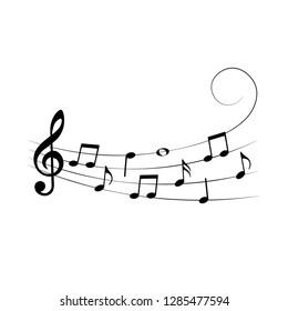 Musical design element, music notes, symbols, vector illustration.