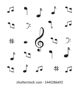 Musical design element,music notes,symbols,vector illustration. - Vector