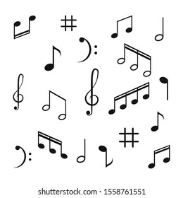 Musical design element,music notes,symbols,vector illustration. - Vector