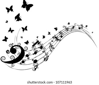 Musical Design Elements From Music Staff With Treble Clef, Swirls, Butterflies  And Notes in Black and White Colors. Elegant Creative Design With Shadows and Isolated on White. Vector Illustration.