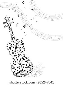Musical Design Elements From Music Staff With Viola  And Notes in Black and White Colors. Elegant Creative Design With Shadows and Isolated on White. Vector Illustration.