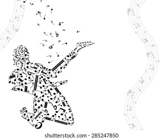 Musical Design Elements From Music Staff With Guitarist And Notes in Black and White Colors. Elegant Creative Design With Shadows and Isolated on White. Vector Illustration.