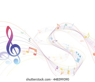 Musical Design Elements From Music Staff With Treble Clef And Notes in gradient transparent Colors. Vector Illustration.
