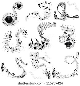 Musical Design  Elements Set From Music Staff With Treble Clef And Notes in Black and White Colors. Vector Illustration.