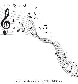 Musical Design From Music Staff Elements With Treble Clef And Notes With Copy Space. Elegant Creative Design Isolated on White. Vector Illustration.