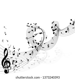Musical Design From Music Staff Elements With Treble Clef And Notes With Copy Space. Shadow With Transparency;  Elegant Creative Design Isolated on White. Vector Illustration.