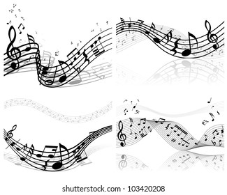 Musical Designs Sets With Elements From Music Staff , Treble Clef And Notes. Vector Illustration.