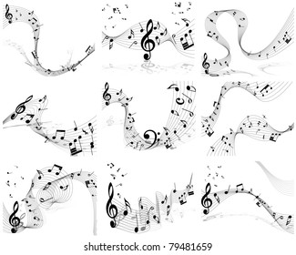 Musical Designs Sets With Elements From Music Staff , Treble Clef And Notes in Black and White. Vector Illustration.