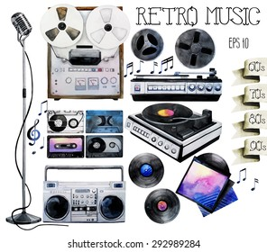 Musical devices of 60`s, 70`s, 80`s, 90`s. Watercolor vinyl turntable and records, tape recorder and cassettes, reel tape recorder, microphone. Vector design elements isolated on white background
