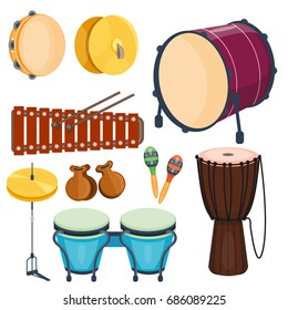 Musical drum wood rhythm music instrument series. Set of percussions, vector illustration