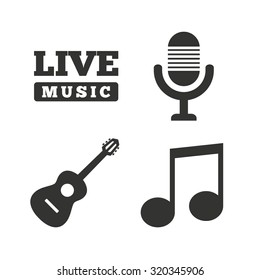 Musical elements icons. Microphone and Live music symbols. Music note and acoustic guitar signs. Flat icons on white. Vector