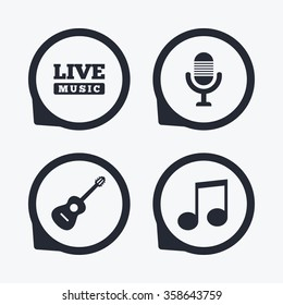 Musical elements icons. Microphone and Live music symbols. Music note and acoustic guitar signs. Flat icon pointers.
