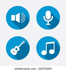 Musical elements icons. Microphone and Sound speaker symbols. Music note and acoustic guitar signs. Circle concept web buttons. Vector