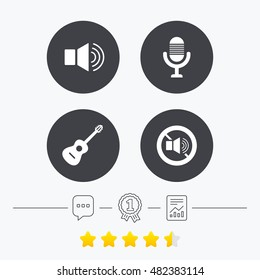 Musical elements icons. Microphone and Sound speaker symbols. No Sound and acoustic guitar signs. Chat, award medal and report linear icons. Star vote ranking. Vector