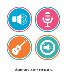 Musical elements icons. Microphone and Sound speaker symbols. No Sound and acoustic guitar signs. Colored circle buttons. Vector