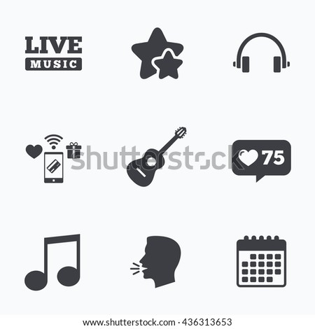 Musical Elements Icons Musical Note Key Stock Vector Royalty Free