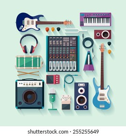 Musical equipment. Flat design.