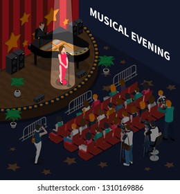 Musical evening isometric composition with female singer on scene performing romance song to accompaniment of piano vector illustration