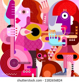 Musical female duet and brown cat vector illustration. Woman playing guitar, another woman playing trumpet, the big brown cat rubs against the legs.