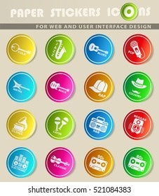 musical genre icons on color paper stickers for your design