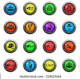 musical genre icons on color round glass buttons for your design