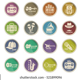 musical genre web icons on color paper labels