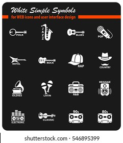 musical genre white simple symbols for web icons and user interface design