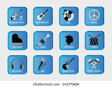 musical genres over gray background vector illustration