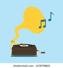 Musical gramophone tool vector icon