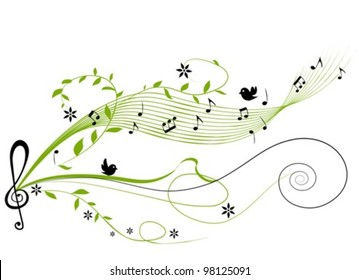 musical green background - vector illustration
