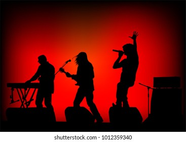 Musical group people in concert on stage