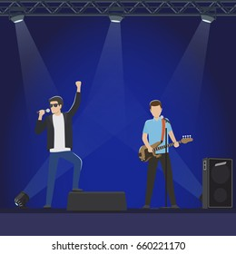 Musical group performs on stage vector illustration. Man in leather jacket sings in microphone and guy in blue T-shirt play guitar.